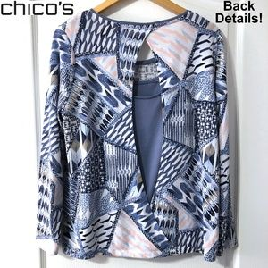 Chico's Blue print Open slit back Sweater Large